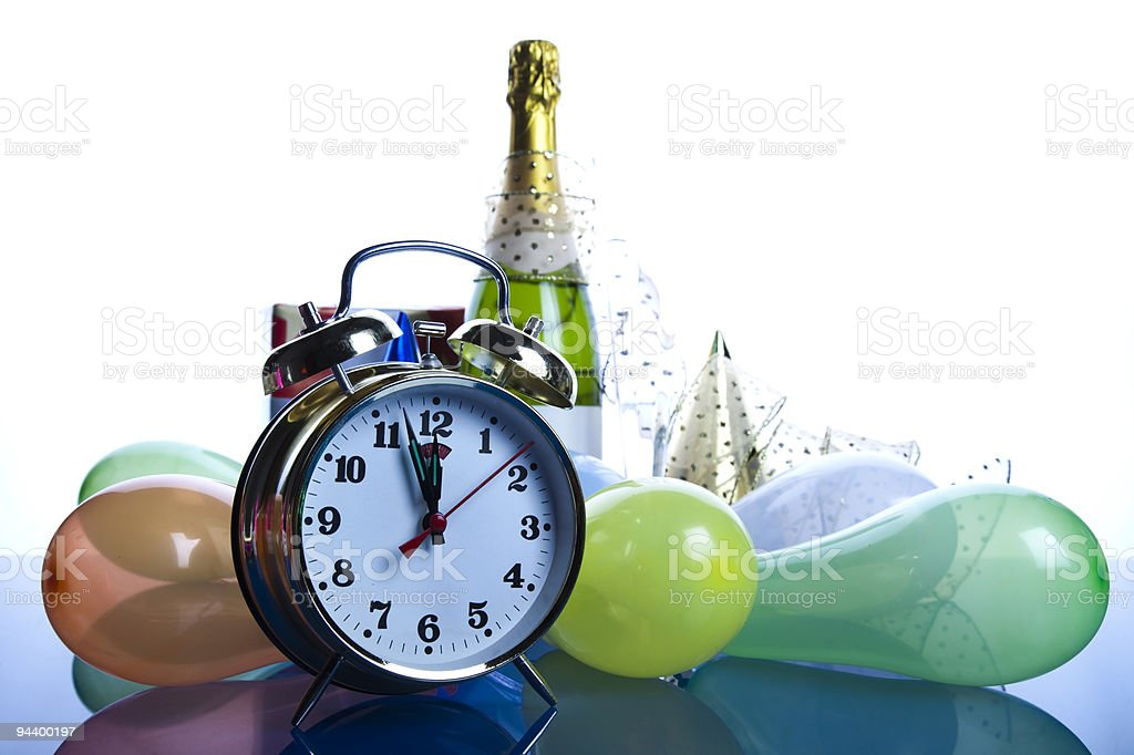 Clock, alcohol, champagne royalty-free stock photo