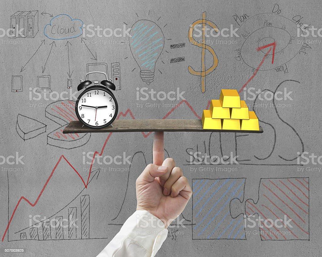 Clock and bullion balance on plank stock photo