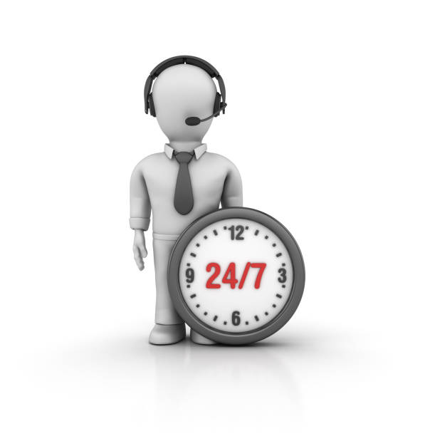 24/7 Clock and Business Character with Headset - 3D Rendering stock photo