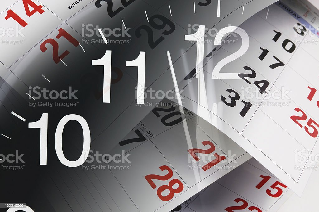Clock and Calendar Pages royalty-free stock photo