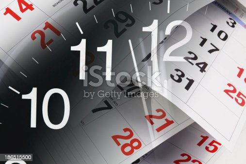 Clock And Calendar Pages Stock Photo & More Pictures of Calendar