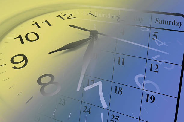 Clock and Calendar Composite of Clock and Calendar instrument of time stock pictures, royalty-free photos & images