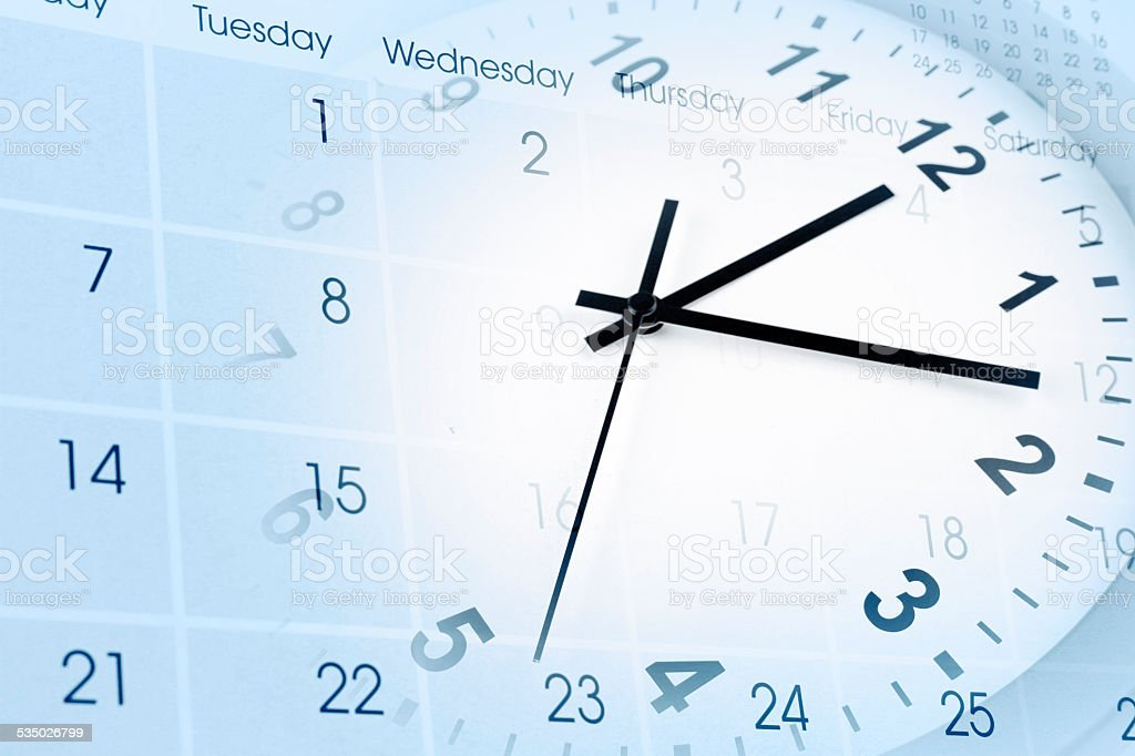 Clock and calendar stock photo
