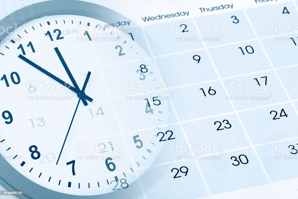Clock and calendar royalty-free stock photo