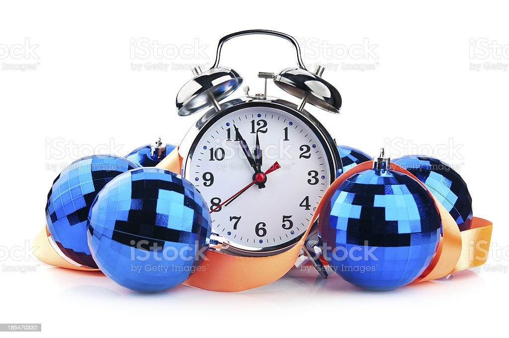clock and christmas balls royalty-free stock photo