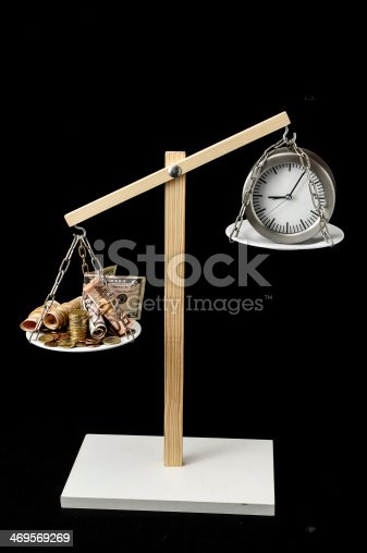 614338352 istock photo Clock and Currency Time is Money Concept 469569269