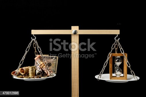 614338352 istock photo Clock and Currency Time is Money Concept 470012593