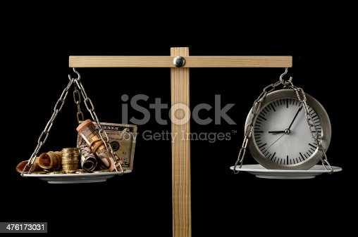 614338352 istock photo Clock and Currency Time is Money Concept 476173031