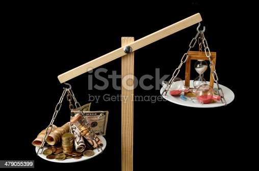 614338352 istock photo Clock and Currency Time is Money Concept 479055399