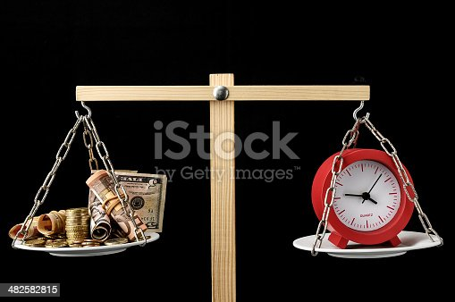 614338352 istock photo Clock and Currency Time is Money Concept 482582815