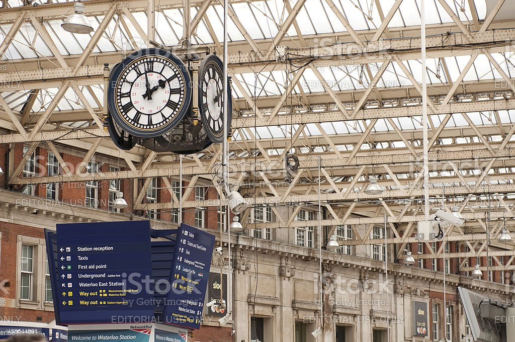 Clock and directional signs at Waterloo station stock photo