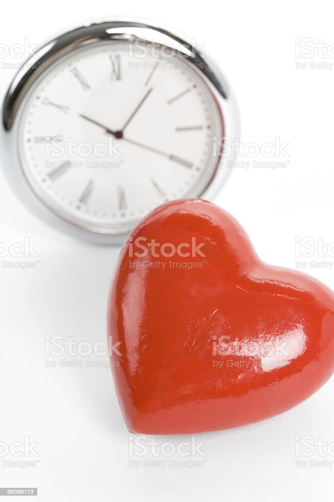 Clock and Red Heart royalty-free stock photo