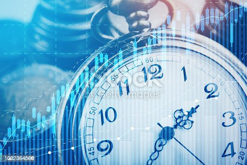 Double exposure of graph, stock display and clock with rows of coins for time of finance and business concept.