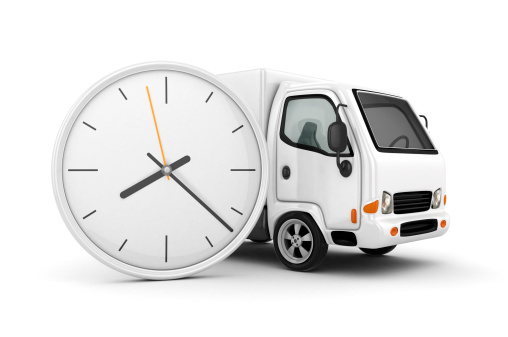 Clock and White Truck-Fast shipping 3d rendered
