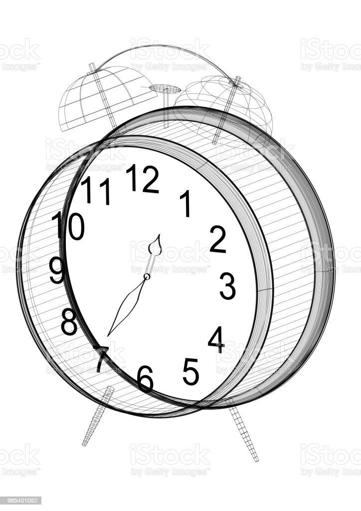 clock Architect blueprint - isolated zbiór zdjęć royalty-free