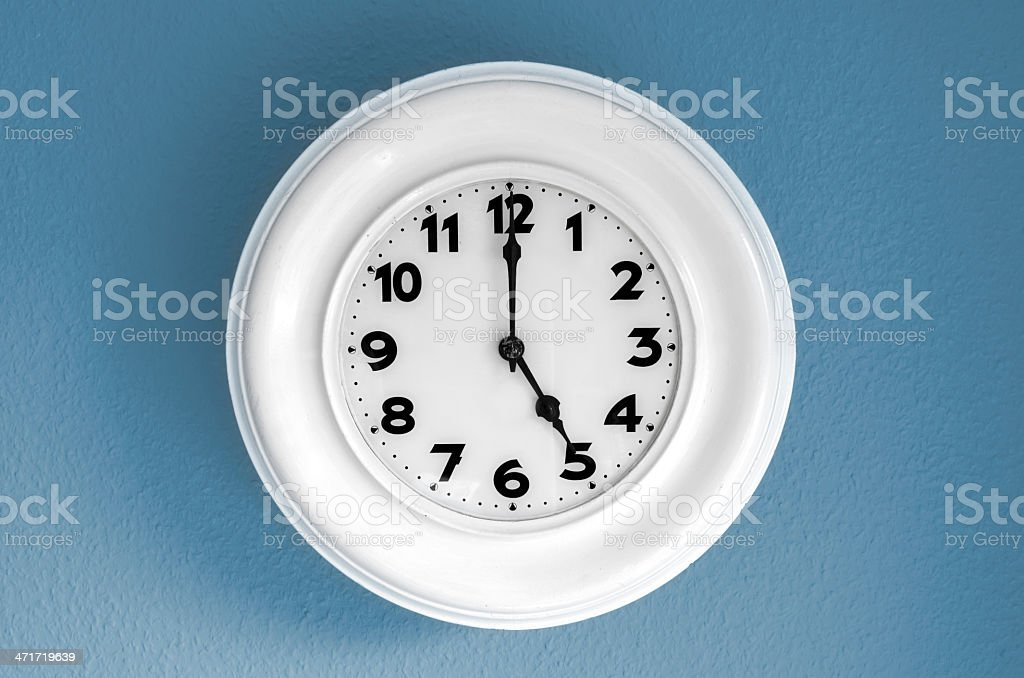 Clock at 5 o'clock stock photo