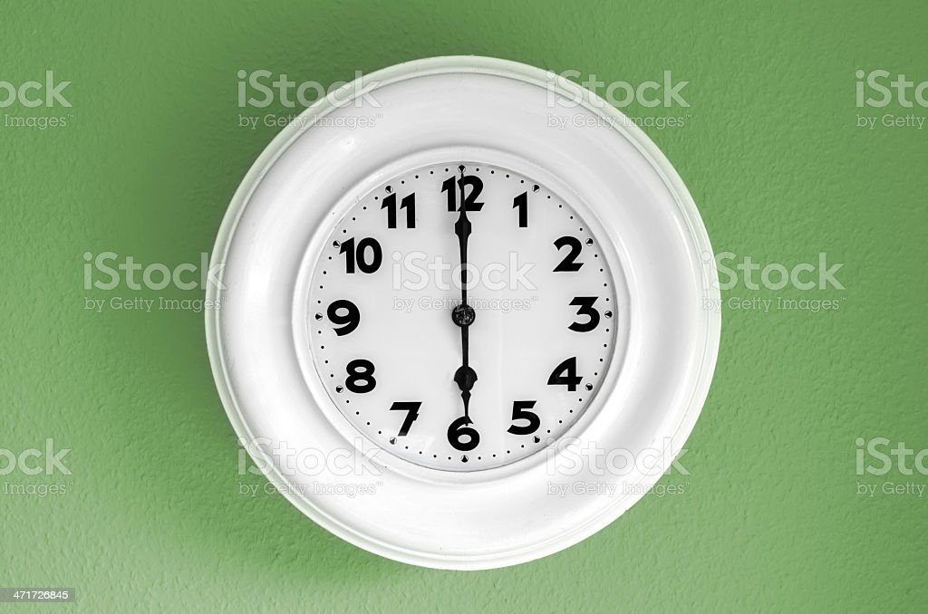 Clock at 6 o'clock royalty-free stock photo