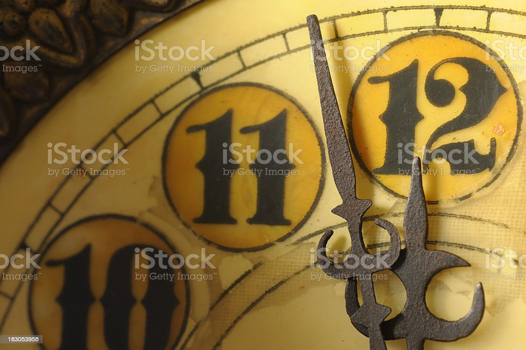 Clock at Almost 12 Midnight on New Years Eve royalty-free stock photo