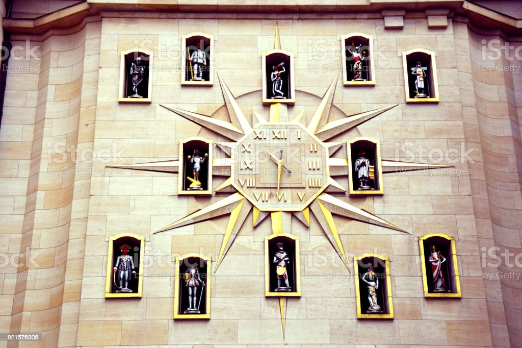 Clock at mont des arts Brussels stock photo