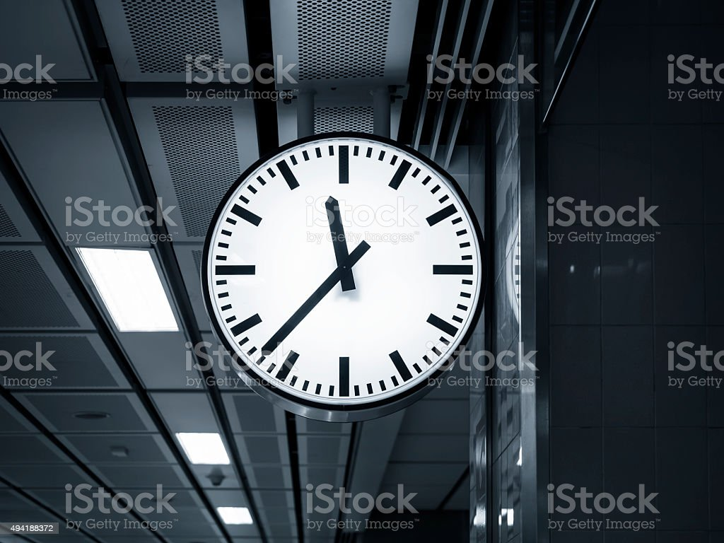 Clock at Train Station stock photo