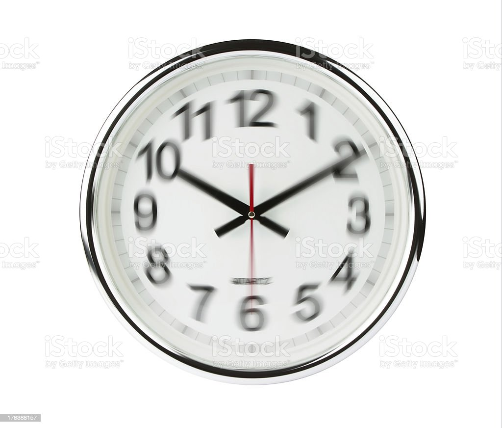 Clock blurred to show time flying stock photo