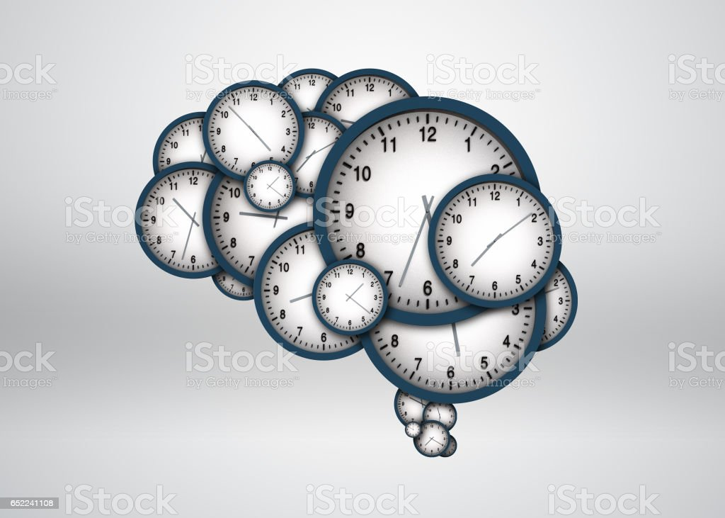 Clock composed of the brain, the brain silhouette stock photo