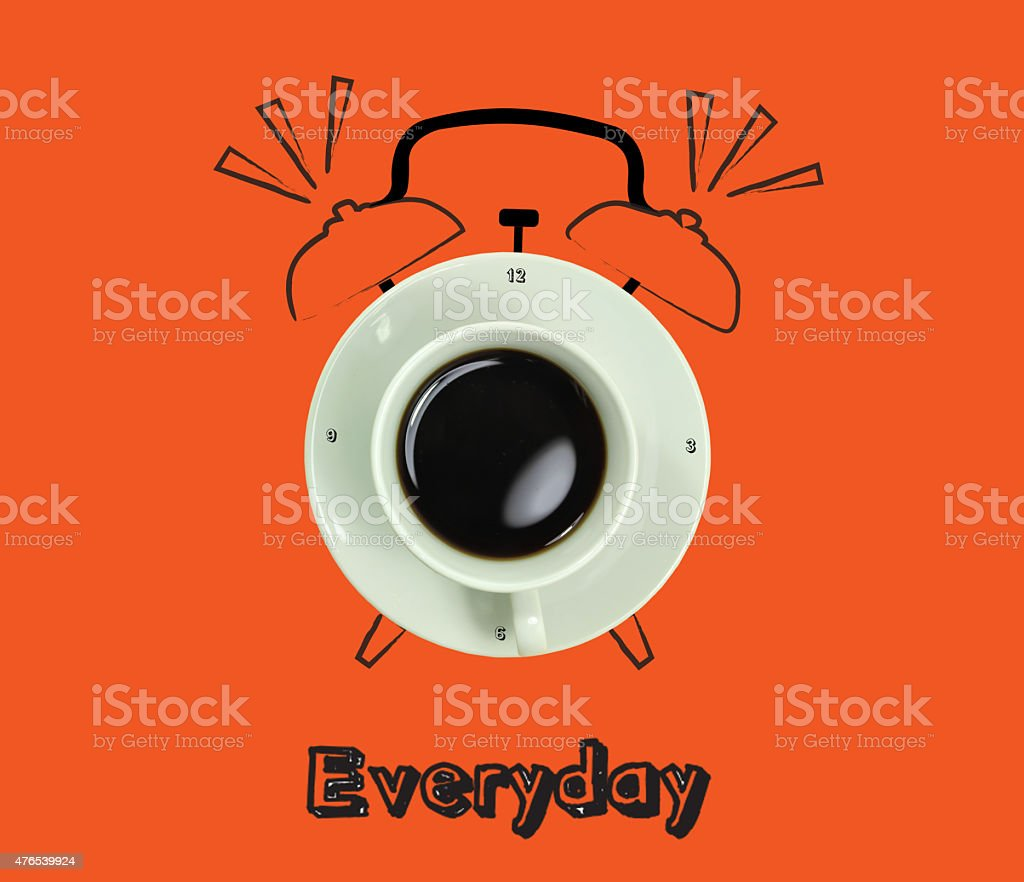 clock. cup of fresh espresso with clock sign, with orange background stock photo