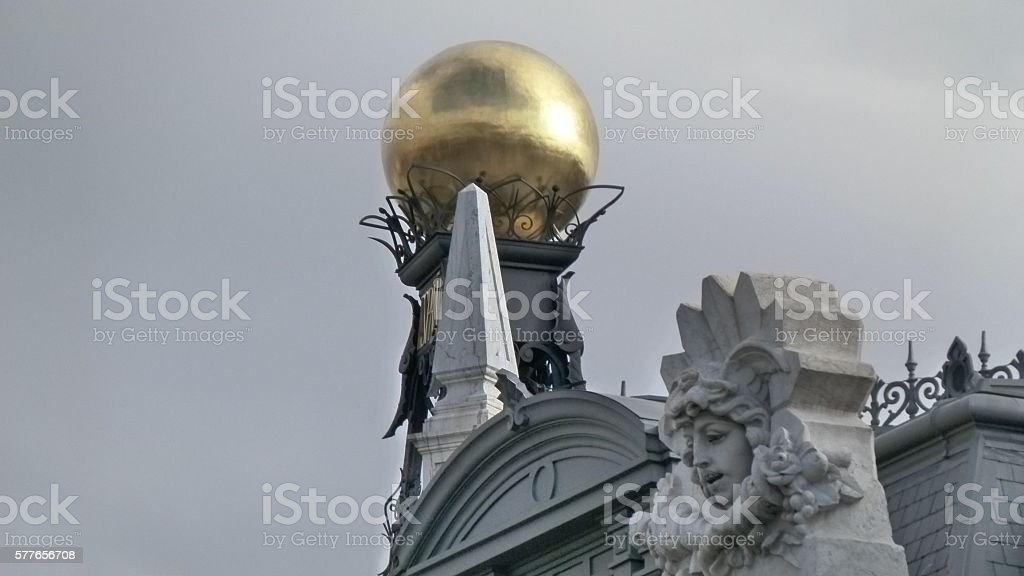 Clock detail on building stock photo