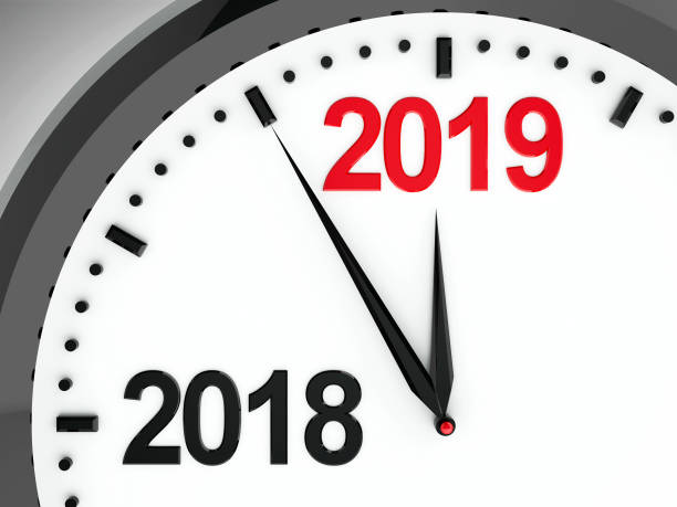 Clock dial 2018-2019 Black clock with 2018-2019 change represents coming new year 2019, three-dimensional rendering, 3D illustration 2018 stock pictures, royalty-free photos & images
