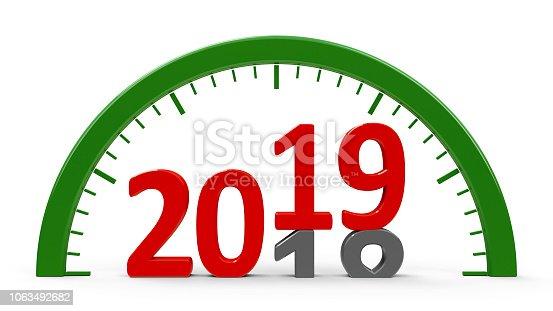 istock Clock dial 2019, half 1063492682