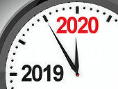 Black clock with 2019-2020 change represents coming new year 2020, three-dimensional rendering, 3D illustration