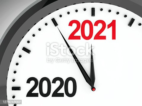 Black clock with 2020-2021 change represents coming new year 2021, three-dimensional rendering, 3D illustration