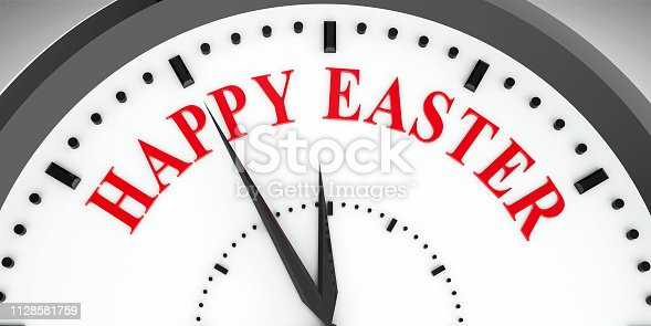 istock Clock dial Happy Easter 1128581759