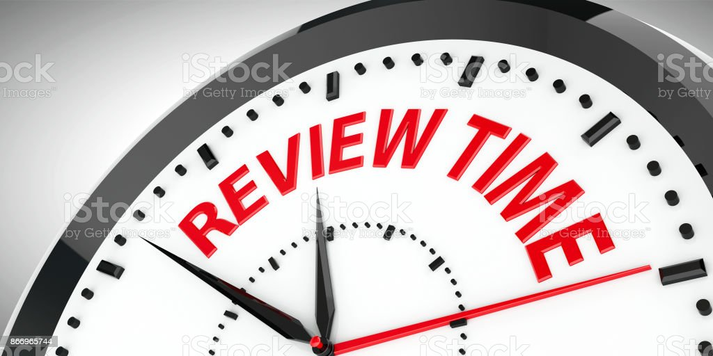 Clock dial Review time #2 stock photo