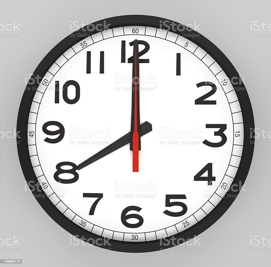 Clock Face 8 o'clock stock photo