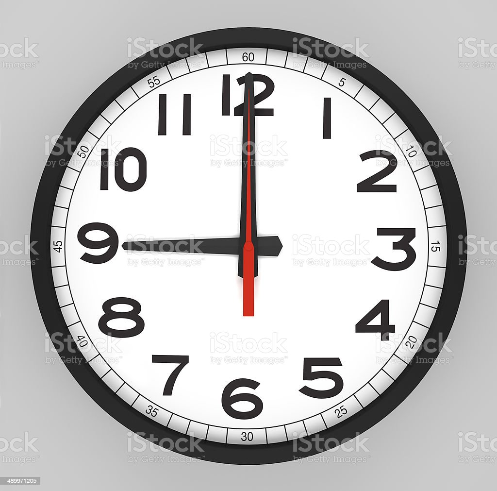 Clock Face 9 o'clock stock photo