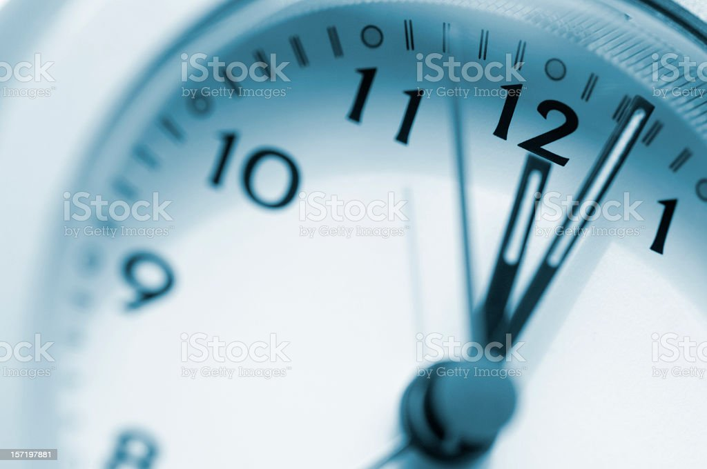 Clock Face Just Past 12 O'Clock royalty-free stock photo