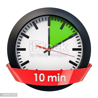 1054812046istockphoto Clock face with 10 minutes timer. 3D rendering isolated on white background 1054812222