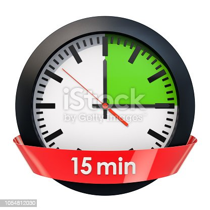 1054812046istockphoto Clock face with 15 minutes timer. 3D rendering isolated on white background 1054812030