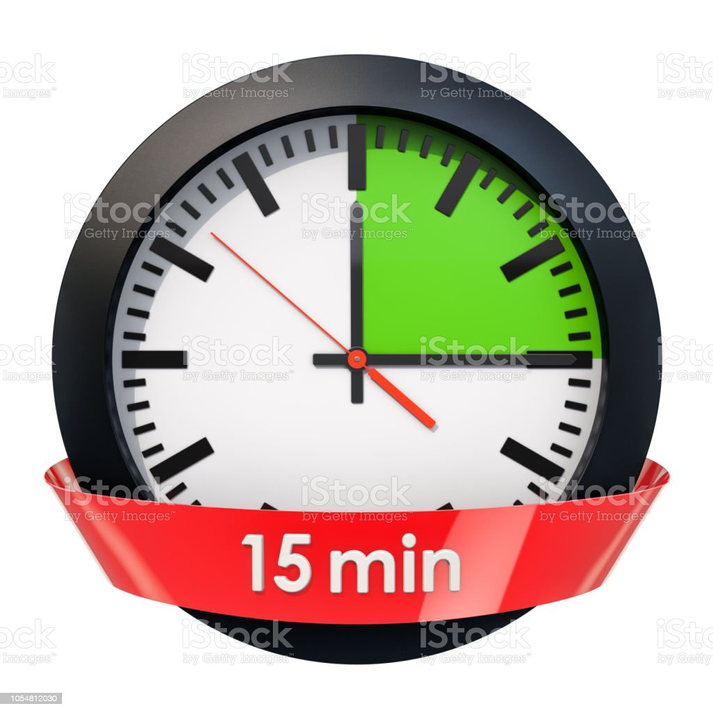 Clock face with 15 minutes timer. 3D rendering isolated on white background stock photo
