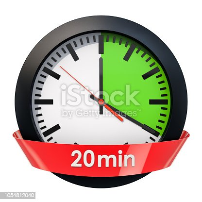1054812046istockphoto Clock face with 20 minutes timer. 3D rendering isolated on white background 1054812040