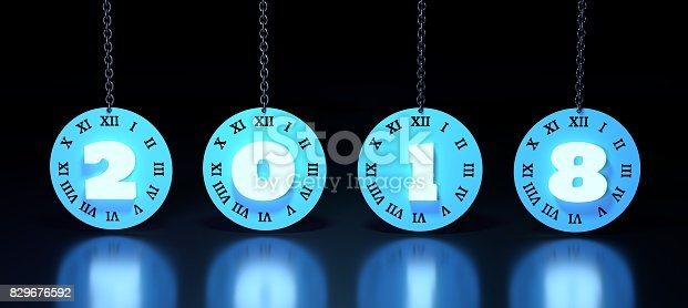 istock Clock face with 2018 number 829676592