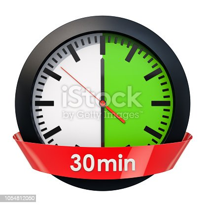1054812046istockphoto Clock face with 30 minutes timer. 3D rendering isolated on white background 1054812050