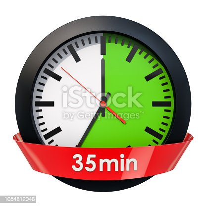 1054812046istockphoto Clock face with 35 minutes timer. 3D rendering isolated on white background 1054812046