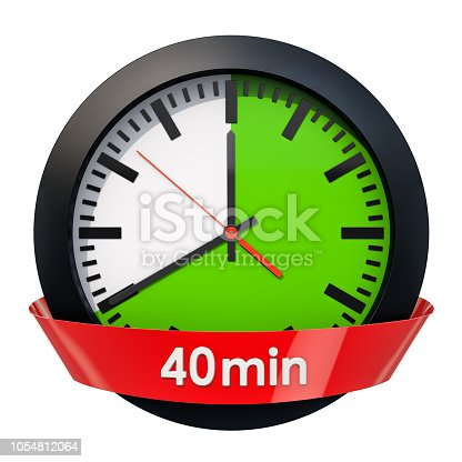 1054812046istockphoto Clock face with 40 minutes timer. 3D rendering isolated on white background 1054812064