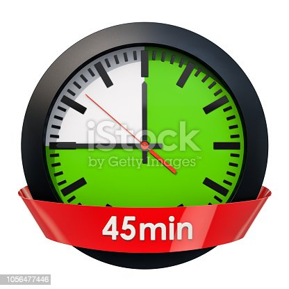 1054812046istockphoto Clock face with 45 minutes timer. 3D rendering isolated on white background 1056477446