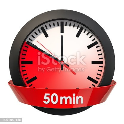 1054812046istockphoto Clock face with 50 minutes timer. 3D rendering isolated on white background 1091882146