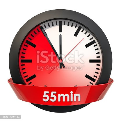 1054812046istockphoto Clock face with 55 minutes timer. 3D rendering isolated on white background 1091882142