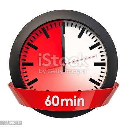 1054812046istockphoto Clock face with 60 minutes timer. 3D rendering isolated on white background 1091882164