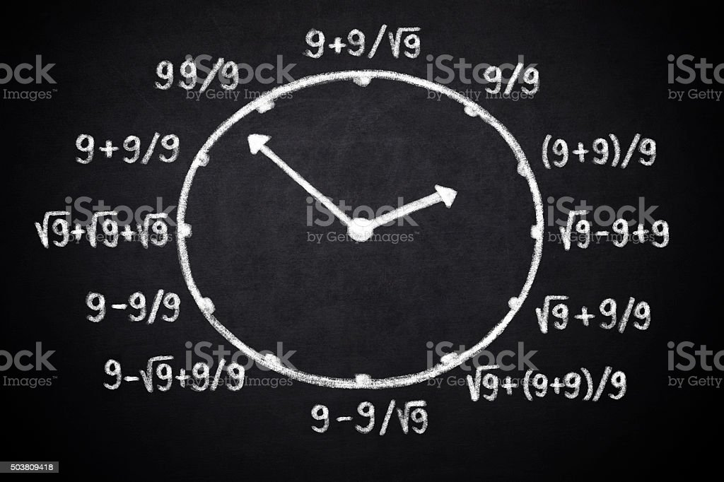 Clock for mathematicians stock photo